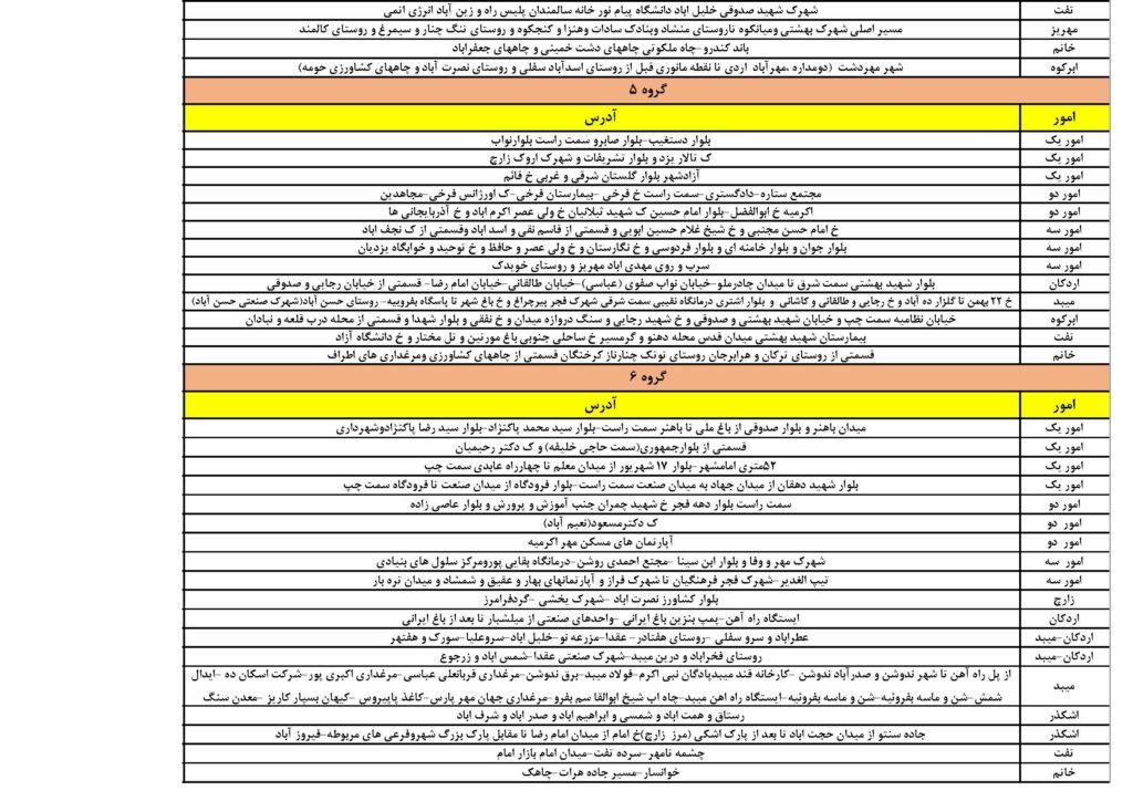 برنامه قطعی برق استان یزد تیر ماه 1400