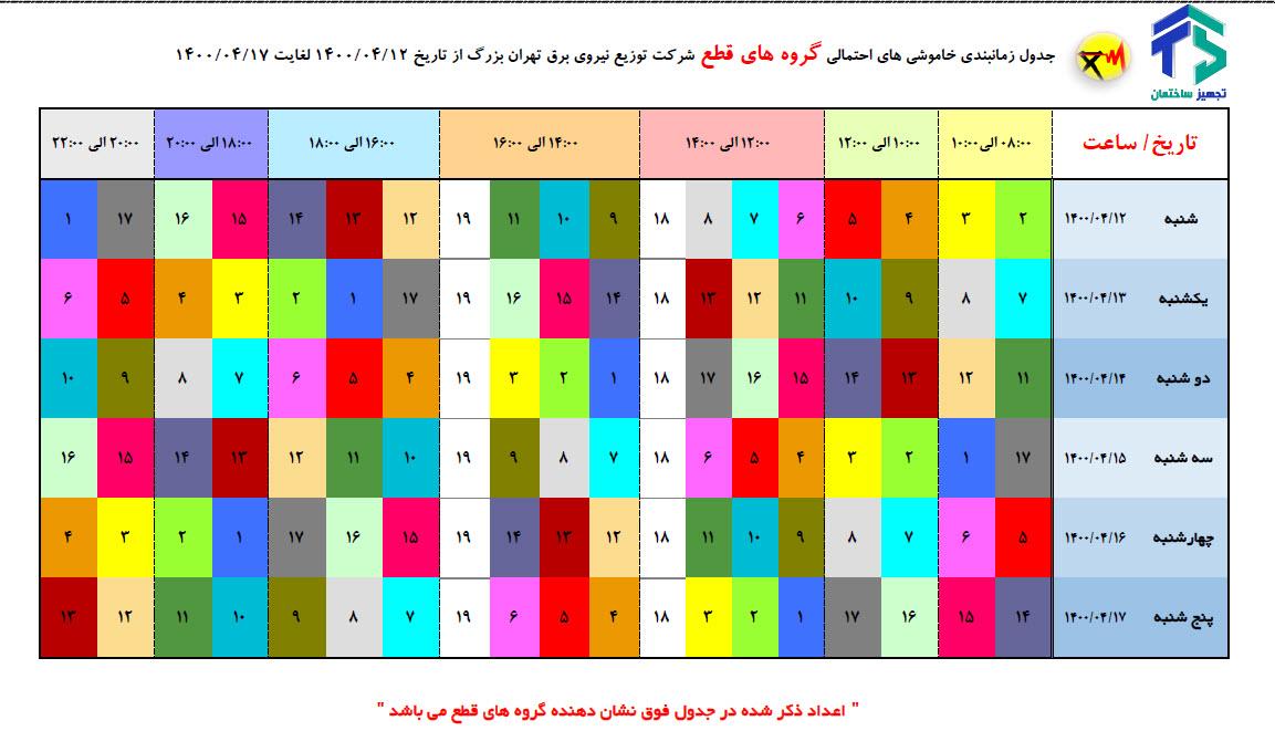 برنامه قطعی برق تهران